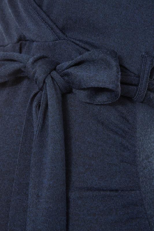 LTS Maternity Navy Wrap Ruched Midi Dress_S.jpg