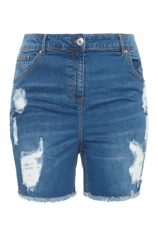Mid Blue Ripped Denim Mom Shorts_F.jpg