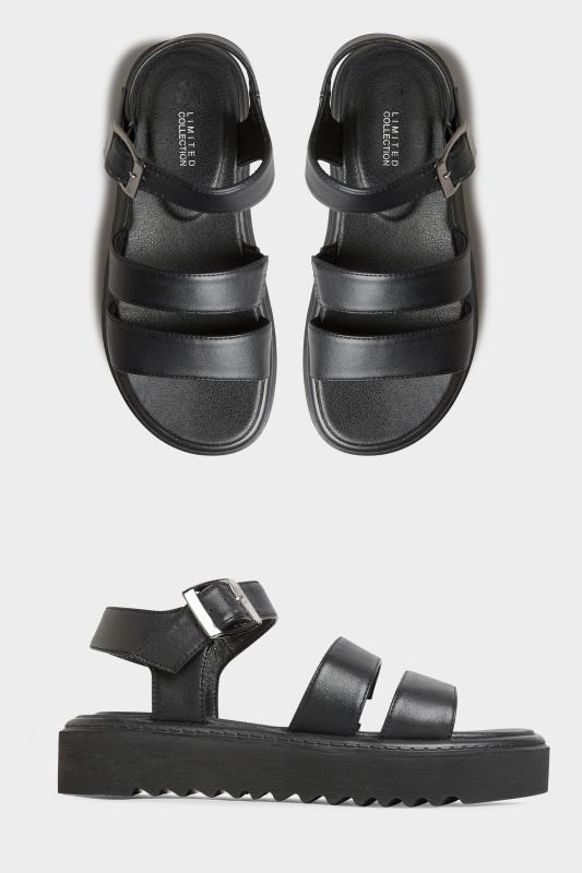 Yours LIMITED COLLECTION Black Chunky Strap Sandal In Extra Wide Fit