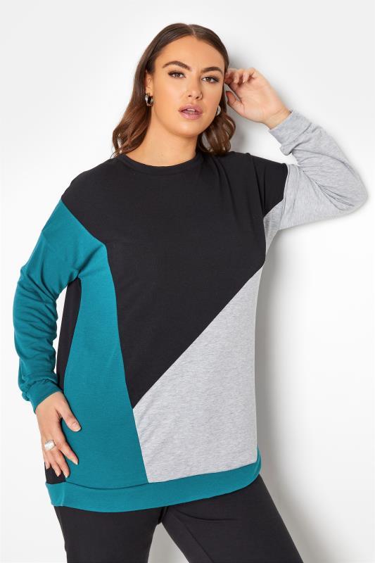Plus Size  LIMITED COLLECTION Teal & Black Colour Block Sweatshirt