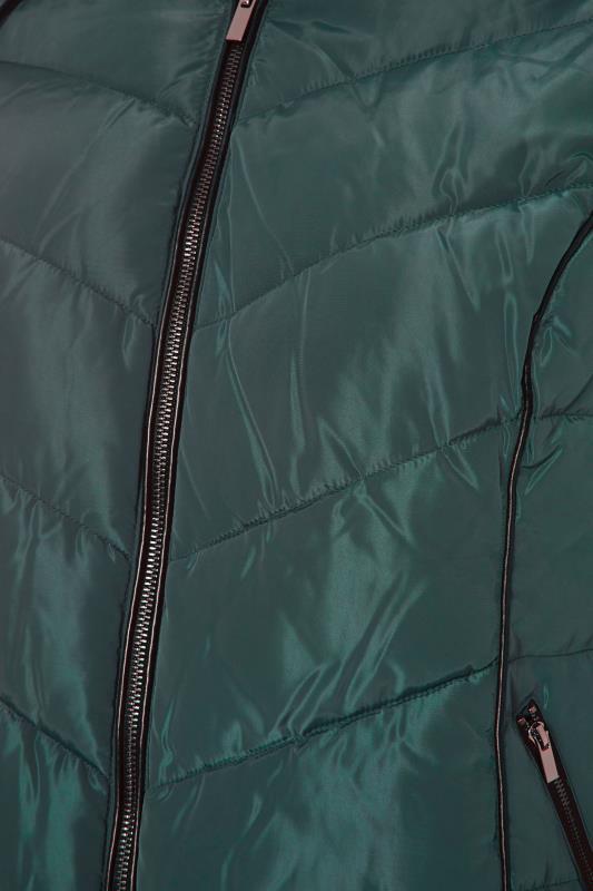 Green PU Trim Panelled Puffer Jacket_S.jpg