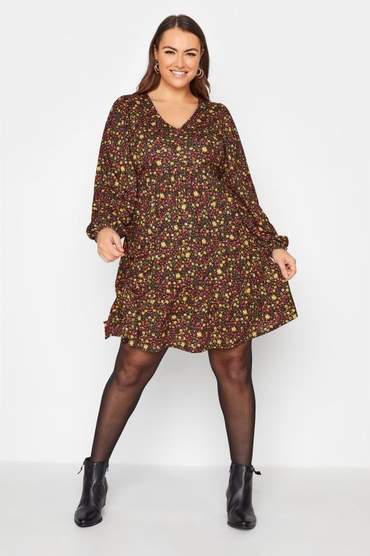 Plus Size  YOURS LONDON Black Ditsy Smock Tunic