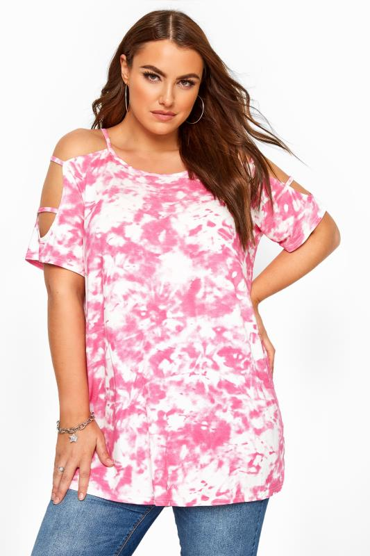 Plus Size Jersey Tops Pink Tie Dye Cold Shoulder Top