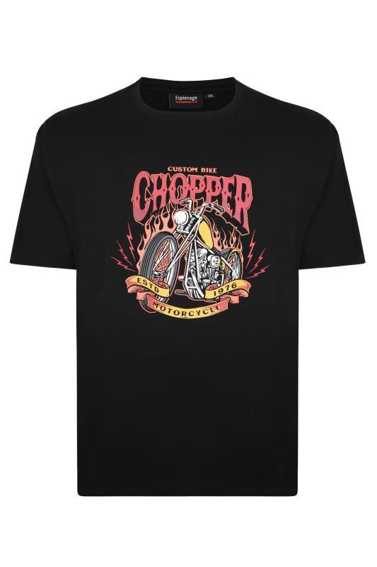 Großen Größen  ESPIONAGE Black 'Chopper' Graphic T-Shirt