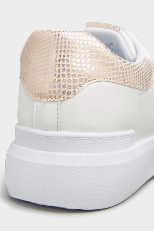LIMITED COLLECTION White and Rose Gold Flatform Trainer In Wide Fit_E.jpg
