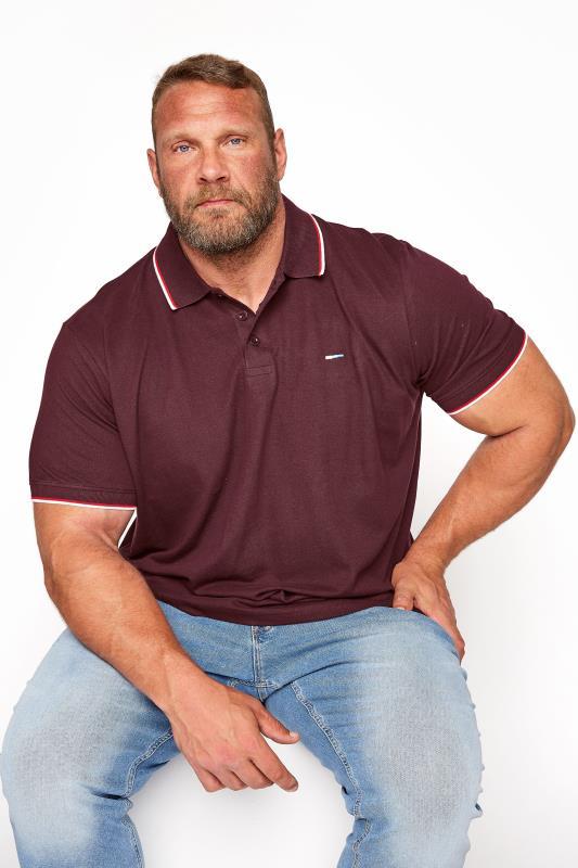 Men's  BadRhino Burgundy Essential Tipped Polo Shirt