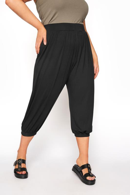 Plus Size  Black Cropped Jersey Joggers