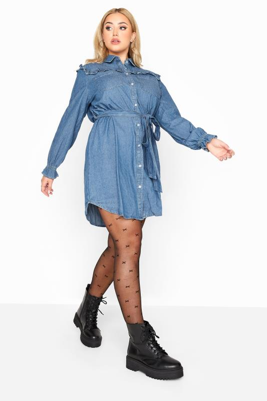 Plus Size  LIMITED COLLECTION Blue Denim Ruffle Shirt Dress
