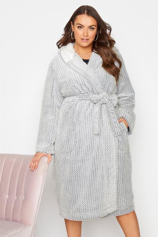 Plus Size  Grey Honeycomb Hooded Dressing Gown