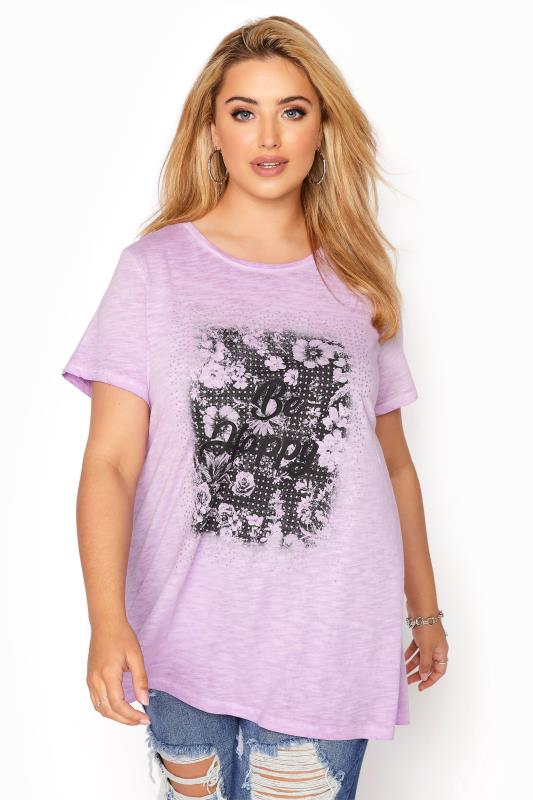 Plus Size  Lilac 'Be Happy' Graphic T-Shirt