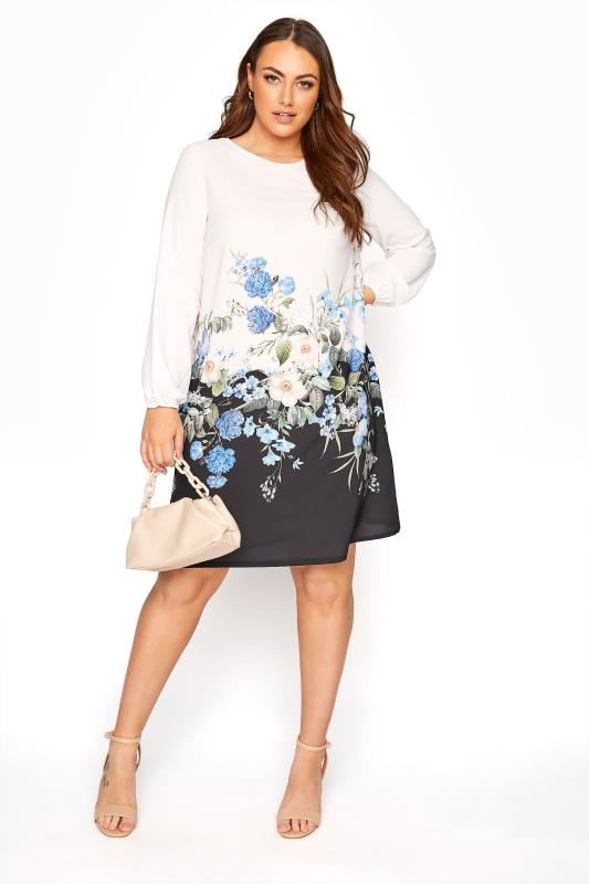 YOURS LONDON White Floral Border Shift Dress
