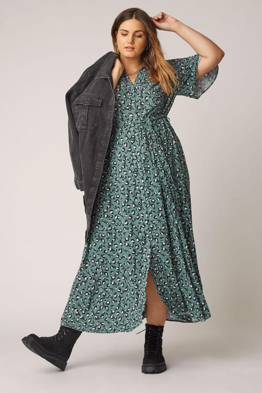 THE LIMITED EDIT Teal Leopard Print Shirt Maxi Dress_B.jpg