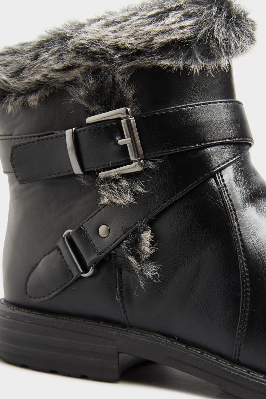 Black Vegan Faux Leather Buckle Ankle Boots In Wide Fit_D.jpg