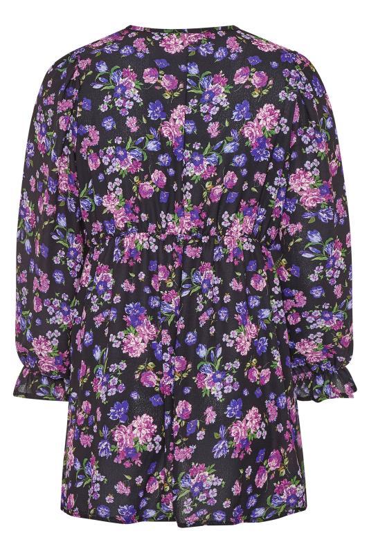Purple Floral Frill Blouse