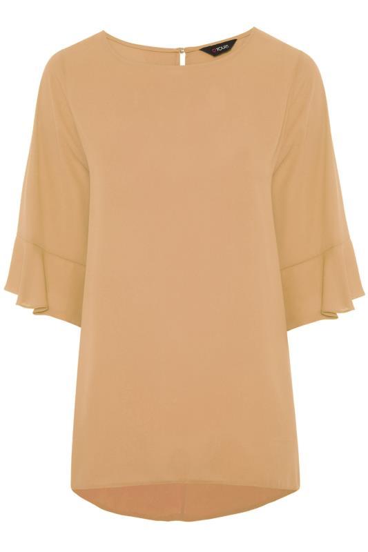 Plus Size  Camel Flute Sleeve Tunic