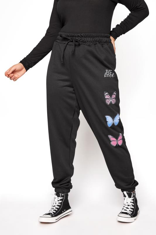 Grande Taille Black 'Be Kind' Butterfly Print Joggers