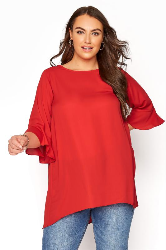 Plus Size  Bright Red Flute Sleeve Tunic