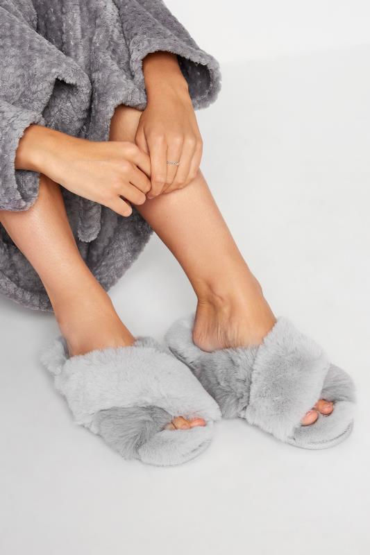 Tall  LTS Grey Faux Fur Cross Strap Slippers