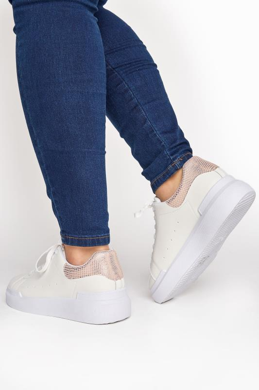 Plus Size  LIMITED COLLECTION White and Rose Gold Flatform Trainer In Wide Fit