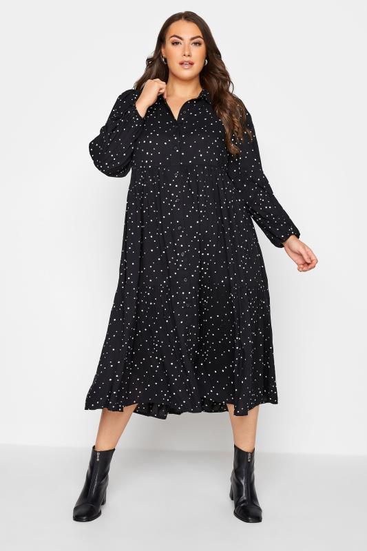 Plus Size  Black Spot Midaxi Shirt Dress