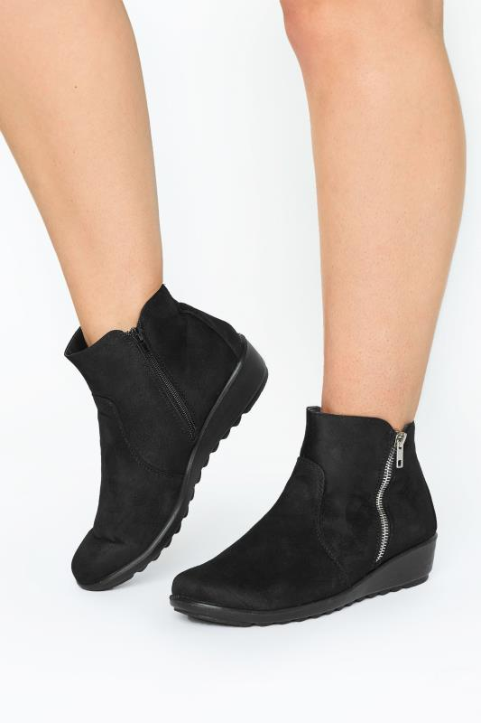 Plus Size  Black Vegan Suede Wedge Heel Ankle Boots In Extra Wide Fit