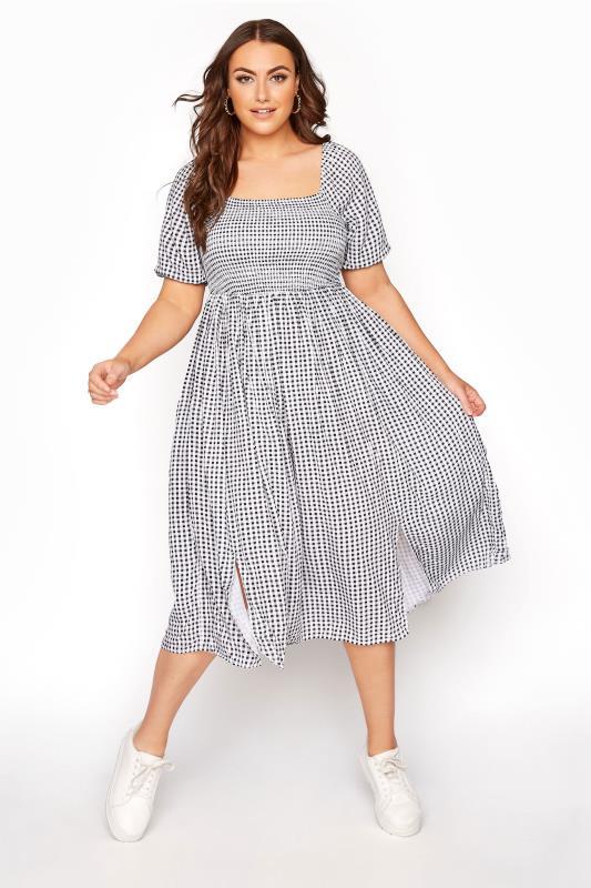 Black Gingham Shirred Midaxi Dress_B.jpg