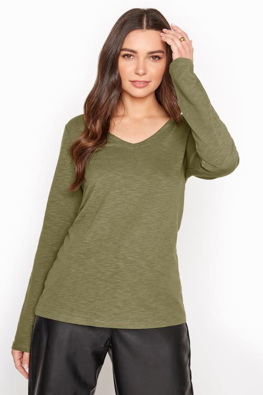 Khaki Cotton V-Neck Long Sleeve Top_A1.jpg