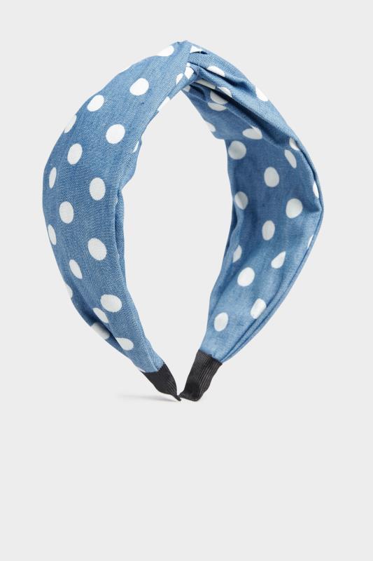 Blue Denim Polka Dot Twist Headband_F.jpg