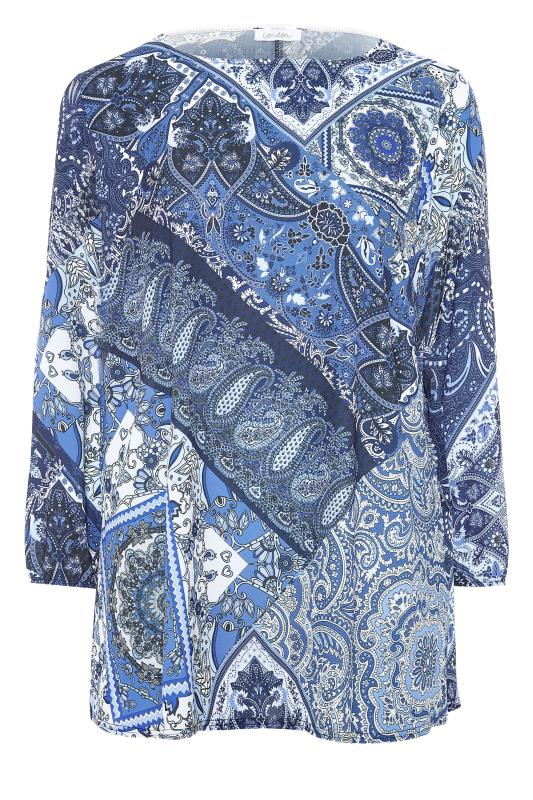 YOURS LONDON Blue Paisley Scarf Print Blouse_F.jpg