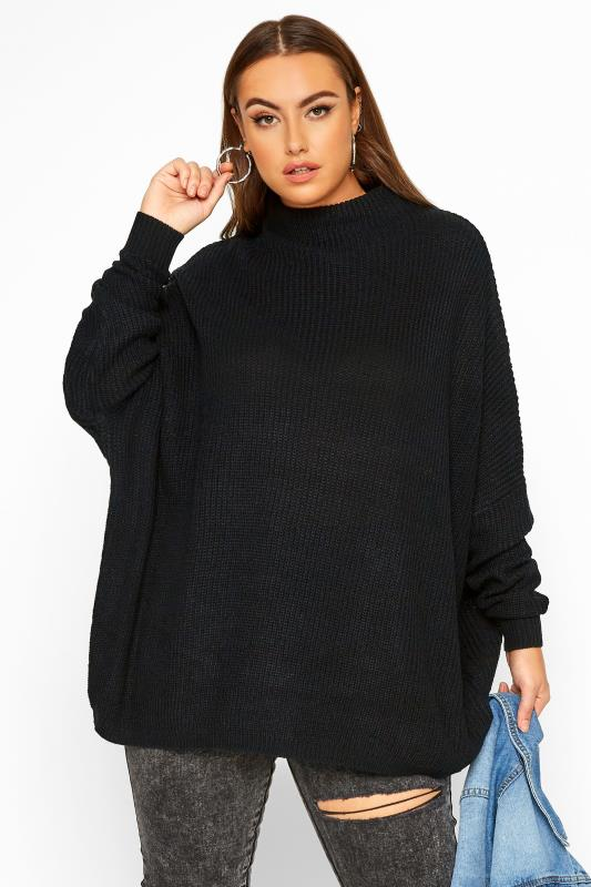 Plus Size Jumpers Black Oversized Knitted Jumper