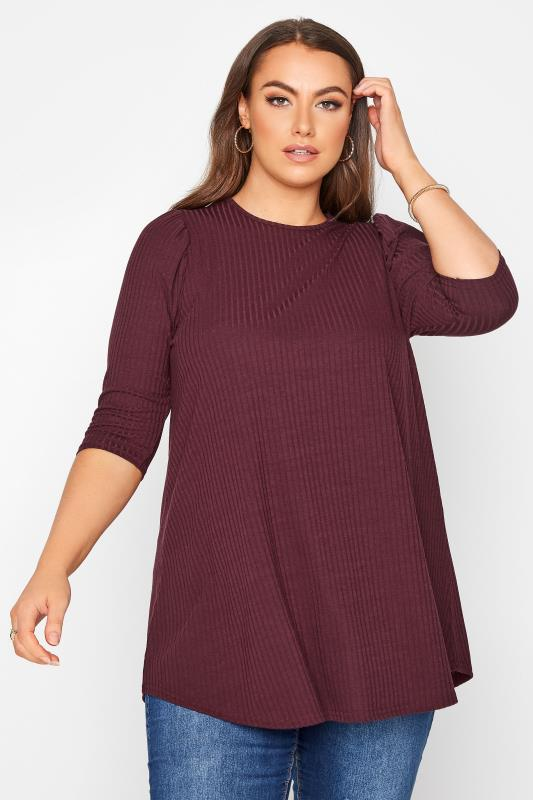 Plus Size  LIMITED COLLECTION Berry Purple Puff Sleeve Ribbed Top