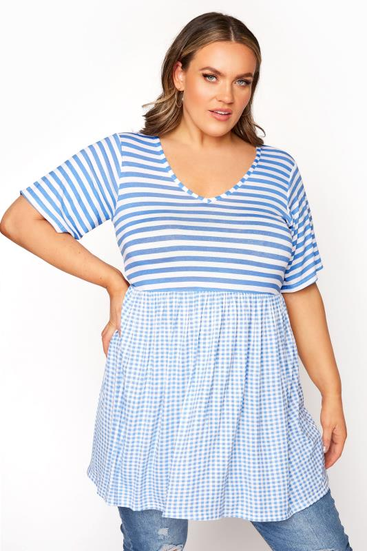 LIMITED COLLECTION Pale Blue Gingham Stripe Mix Top_A.jpg