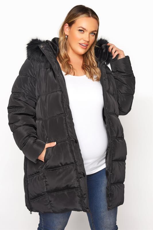 Plus Size  BUMP IT UP MATERNITY Black Side Zips Puffer Coat