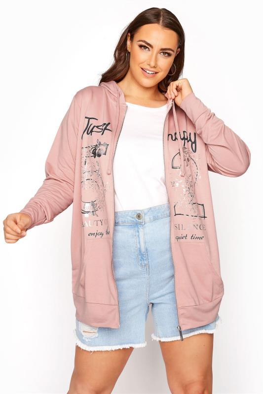Plus Size  Pink Print Front Zip Through Hoodie