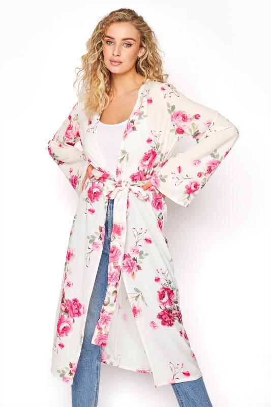 Tall  LTS White Floral Bubble Kimono