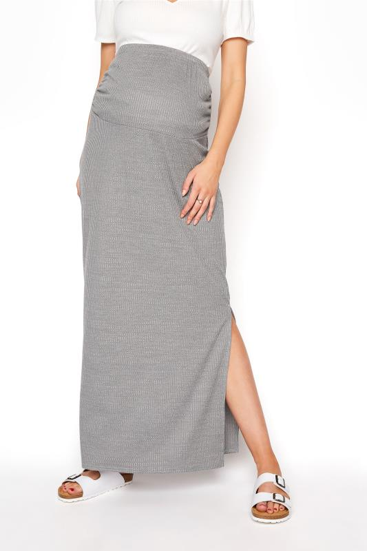 LTS Maternity Grey Ribbed Maxi Skirt_B.jpg