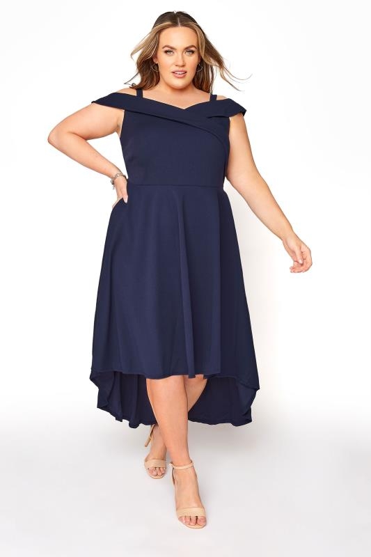 Grande Taille YOURS LONDON Navy Bardot High Low Dress