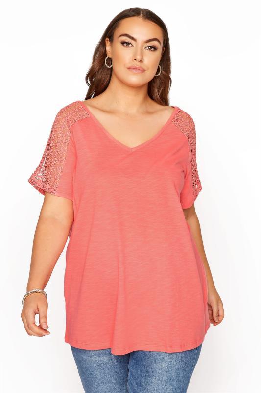 Großen Größen  Coral Lace Shoulder T-Shirt