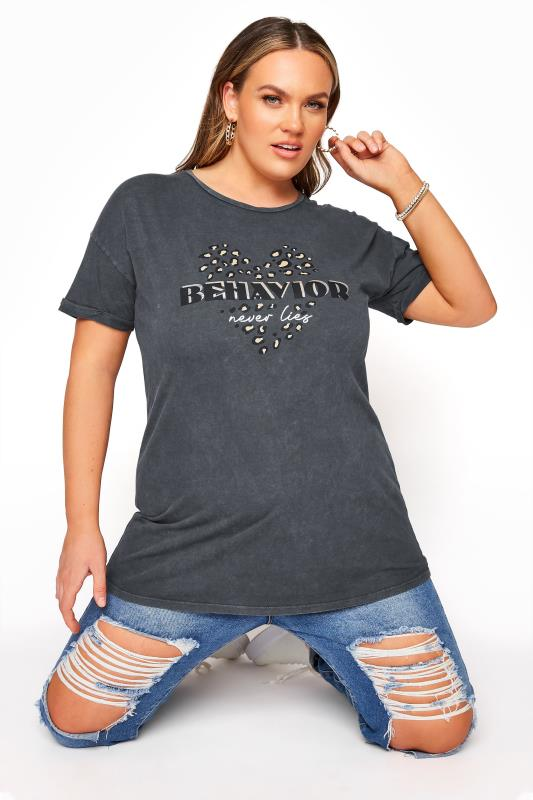 Plus Size  Charcoal Washed Print T-shirt