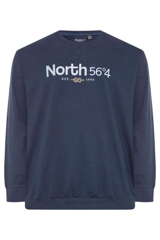Plus Size  NORTH 56°4 Navy Embroidered Logo Sweatshirt