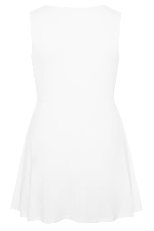 White Sleeveless Frill Wrap Top