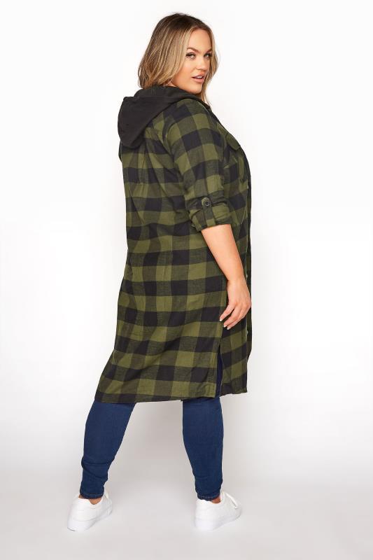 Khaki Checked Hooded Longline Shirt_C.jpg