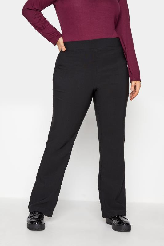 Plus Size  Black Flared Trousers