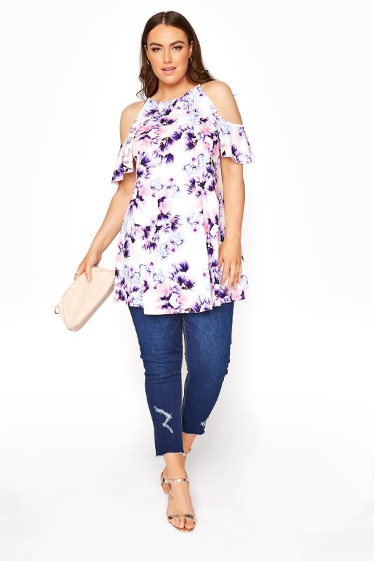 YOURS LONDON White Floral Ruffle Cold Shoulder Top