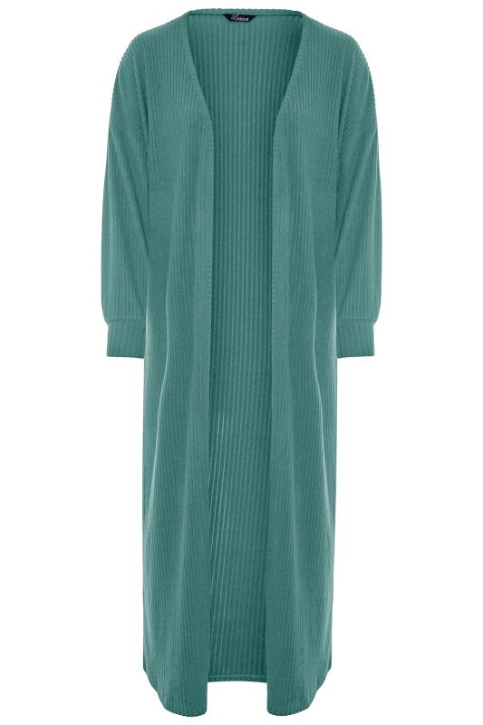 LIMITED COLLECTION Forest Green Ribbed Long Cardigan_F.jpg