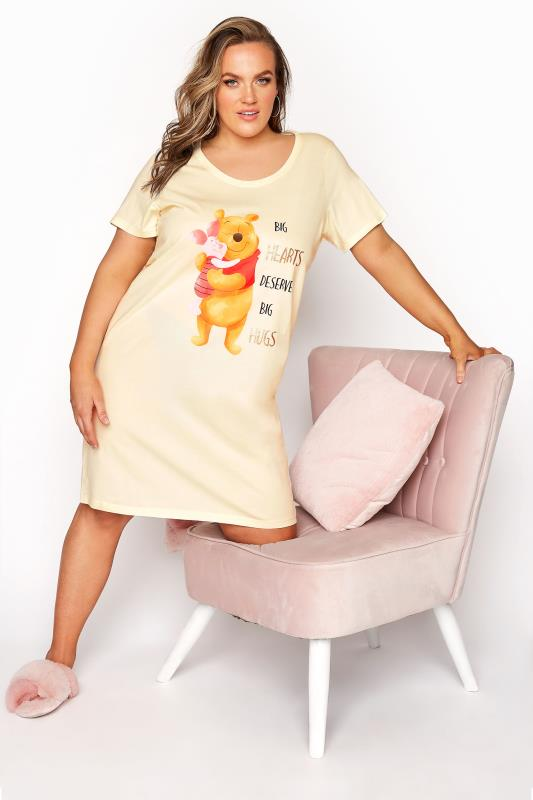 Plus Size  DISNEY Lemon Yellow Winnie and Piglet Hugs Dipped Hem Nightdress