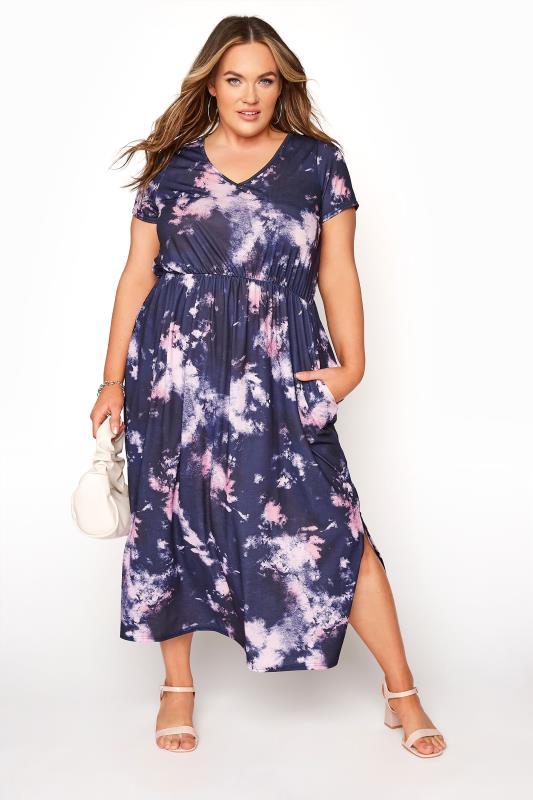 Tallas Grandes YOURS LONDON Navy Tie Dye Pocket Midi Dress