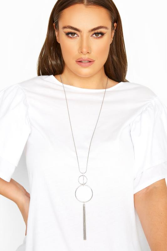 Plus Size  Silver Double Circle Tassel Necklace
