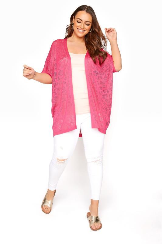 Pink Knitted Pointelle Leopard Print Cardigan_B.jpg