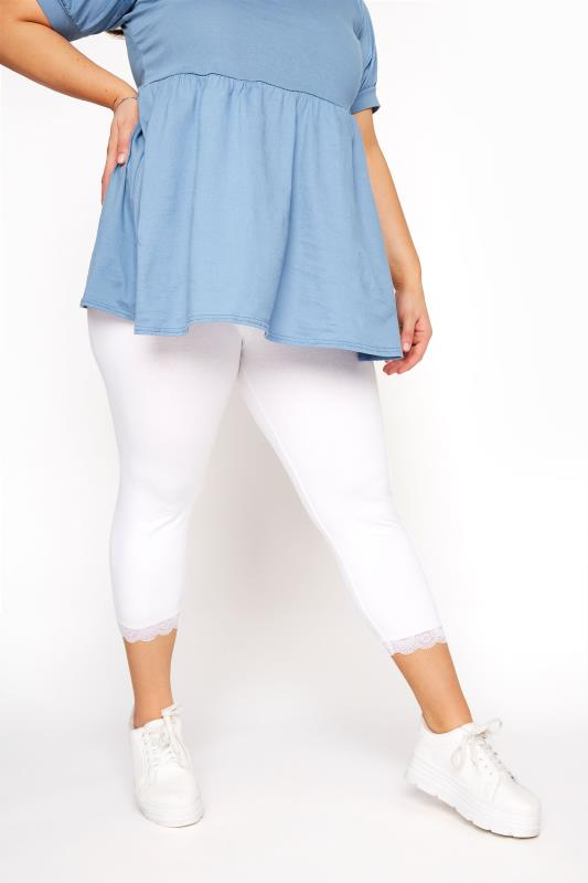 White Cotton Essential Cropped Leggings With Lace Detail_B.jpg